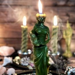 Зеленая восковая свеча Фортуна, большая