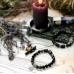 Браслет - защита с Валькирией, из чёрного турмалина, обсидиана, змеевика, вставок пирита и  гематита