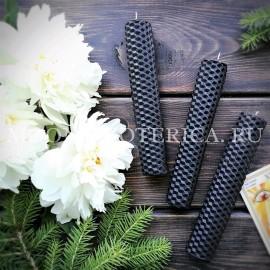 Свеча из вощины черная с травами ОЧИЩЕНИЕ малая